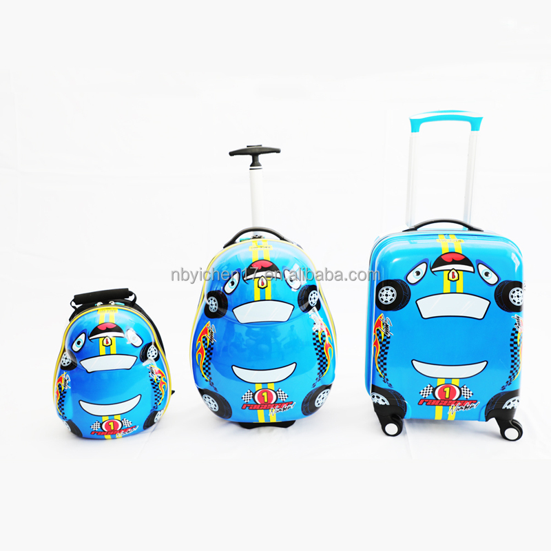 "ABS children cartoon luggage/kids trolley case set 13""backpack +17"" luggage case"