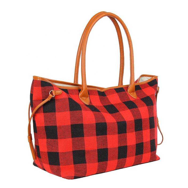 Wholesale Monogrammed Red White Buffalo Plaid <strong>Totes</strong>
