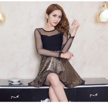 Top fashion latest long sleeve tshirt dress beaded lace see-through shining ladies nignt sexy party dress women mini club dress