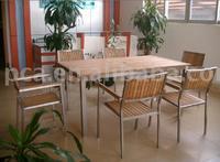table set w/teak wood &stainless steel