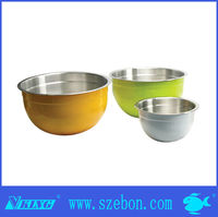 18/8 stainless steel salad bowl with colorful plastic cover