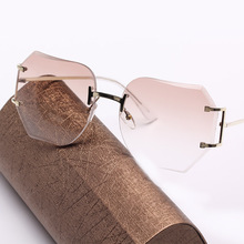kl1603 fashion women sunglasses in pink tint beautiful vintage oversize rimless glasses