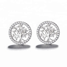 Latest Jewelry 925 Sterling Silver Tree of Life Earrings
