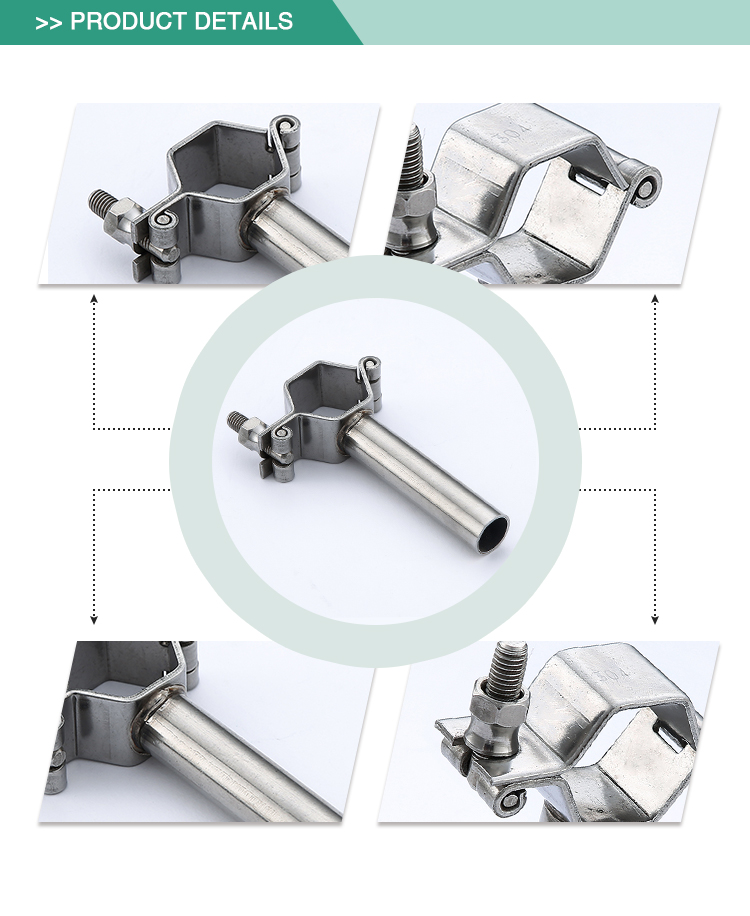 Promotional use long lasting standard pipe clamp stainless steel sanitary pipe holder