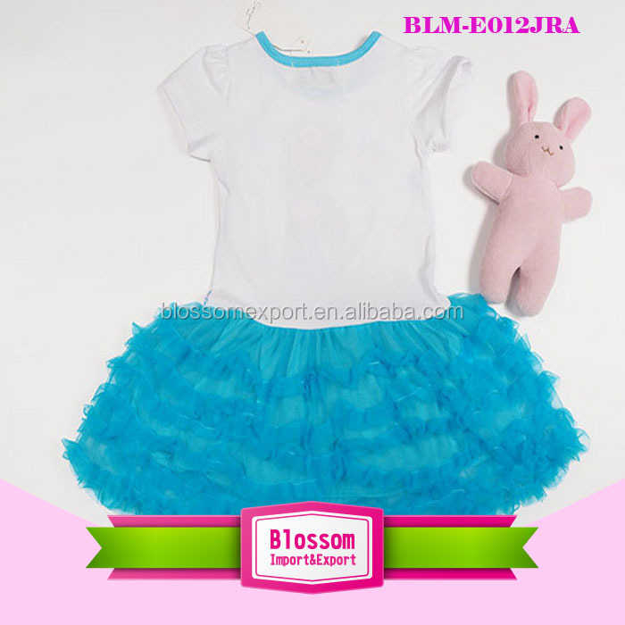 Hot sale Elsa pattern cotton with royal blue chiffon baby dress