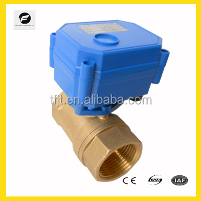 CWX-15 1'' DN25 brass 2-way motorized ball valve DC3-6v CR02 three wires electric ball valve for water treatment,water leakage
