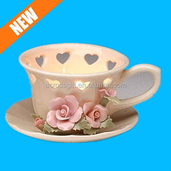 porcelain rose tea light holder ceramic candle cup