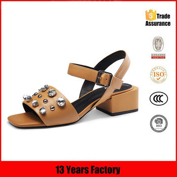 thick heel latest high heel ladies sandals