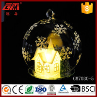 decorative glass snow globe with PVC house and forest