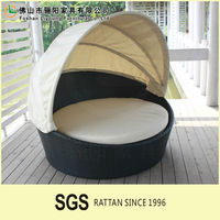Manufacturers Selling Modern The Cane Makes Up Round The Bed, Used For The Design Of Garden And The Pool Hotel Outdoor Sofa Bed