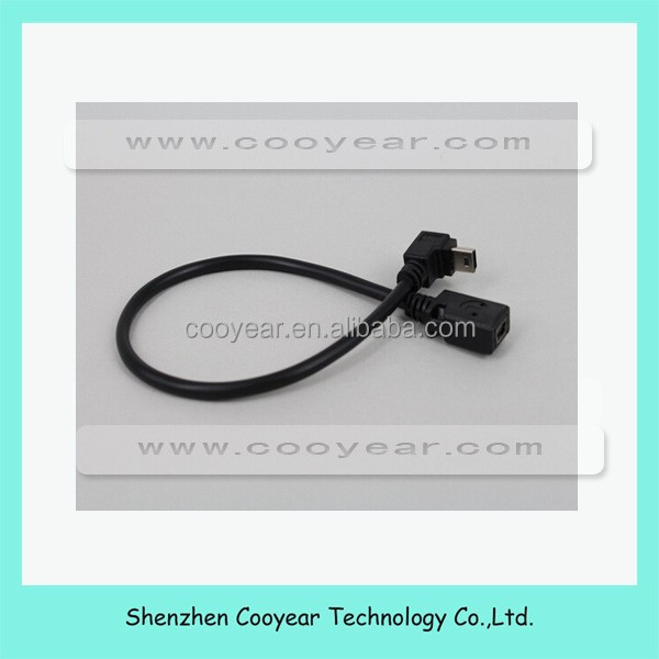 down 90 degree USB 2.0 mini B 5p male to female extension cable