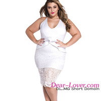 Wholesale 2016 Latest Design Ladies Office Wear Sexy Plus Size White Floral Lace Peplum Dress