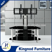 4 tier glass tv stand with swivel bracket TV lift mechanism