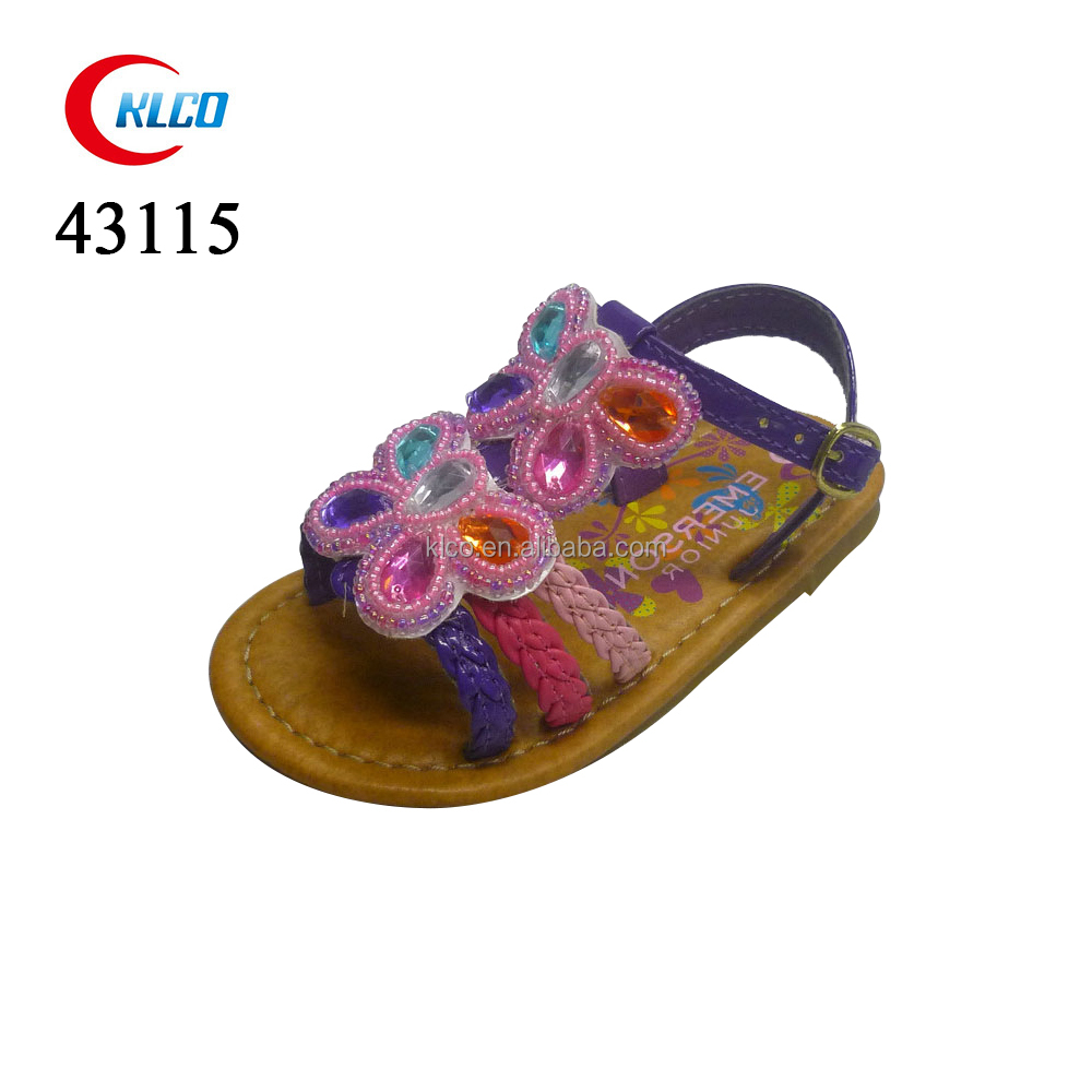 kids new designs butterfly flat fashion sandals with back strap
