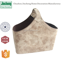 Chic light brown suede fabric clothing storage basket