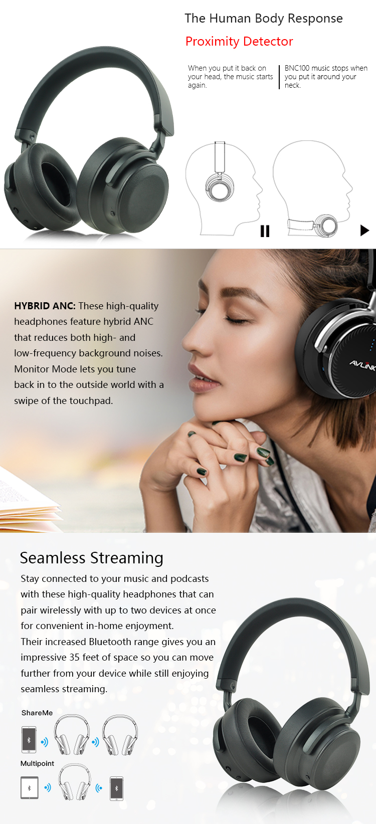 Wireless touch control active noise cancelling headphones BNC100