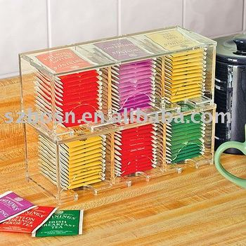 6 components clear acrylic tea bag storage box