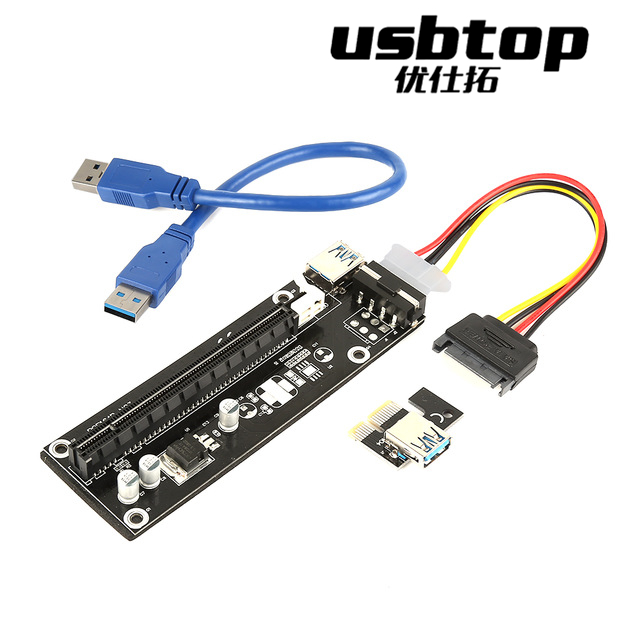 USBTOP 50cm PCIE 1x to 16x Express Strengthen Power Cable Extender Riser Card USB 3.0 PCI-e Extension Adapter with SATA 4pin