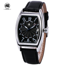 Latest brand square case transparent watch automatic mechanical movt wrist watch fashion leather watch mens