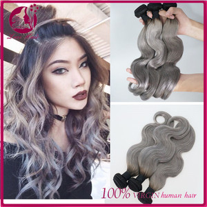 New arrival raw unprocessed virgin dark root silver gray body wave brazilian human hair weave