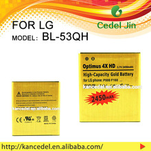manufacture mobile phone battery BL-53QH gold battery For LG Optimus L9/Optimus 4X HD