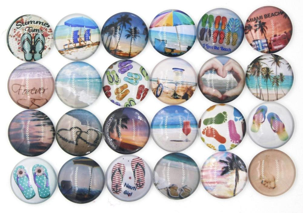 New DIY 18mm Cabochon Glass Ocean Beach Scene Flip Flop Button Customized Button For Snap Bracelet Necklace Ring Earring Jewelry