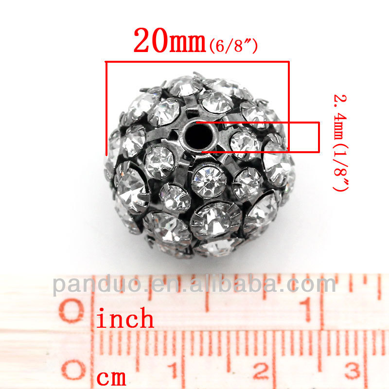 Polymer Clay Ball Beads Round Gunmetal Pave Clear Rhinestones 20mm Dia,5PCs,bulk