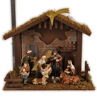 Religious ornament polyresin nativity wooden house sets