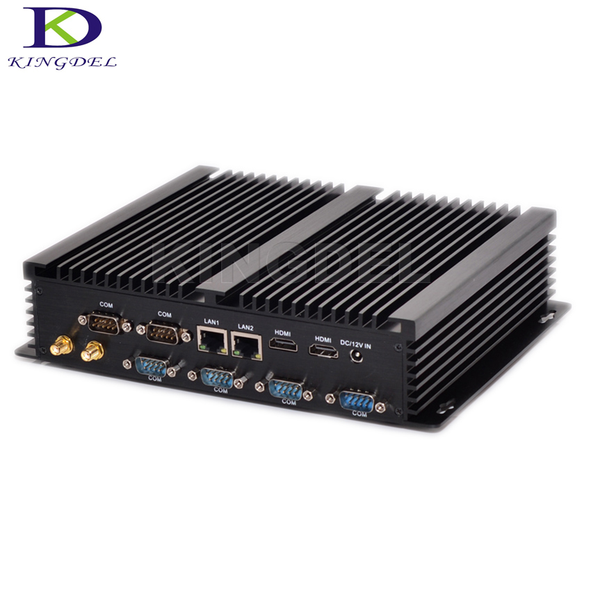 Kingdel New Arrival Intel Core i3 4010U i5 4200U i7 4500U Barebone Dual LAN Rugged Case Windows10 Industrial Fanless mini pc 12v