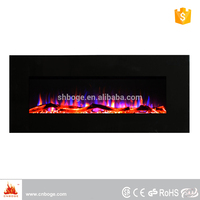 Eco flame electric wall mount metal fireplace with log