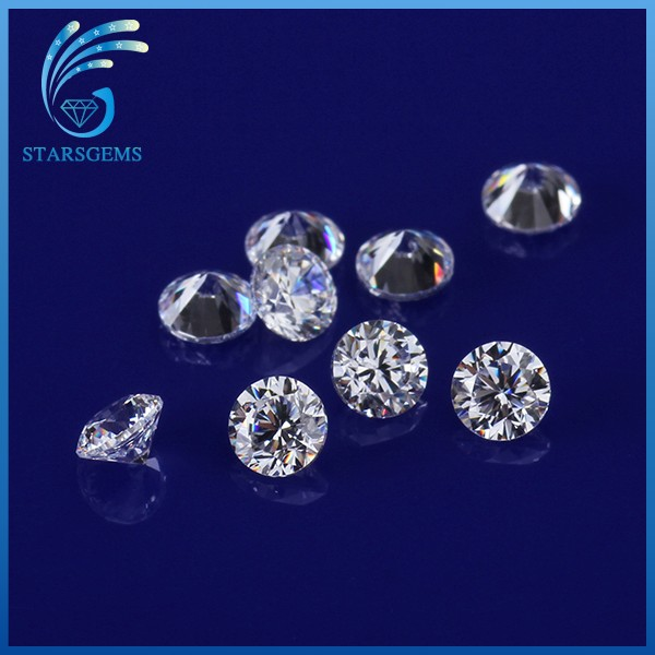 Competitive Price Loose CZ Stones, Star Cut Synthetic Round Cubic Zirconia