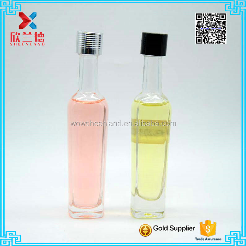 novelty long neck transparent glass bottle for beverage or alcohol 50ml