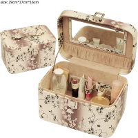 reasonable pu leather cosmetic tool cases for lady leather cosmetic tray
