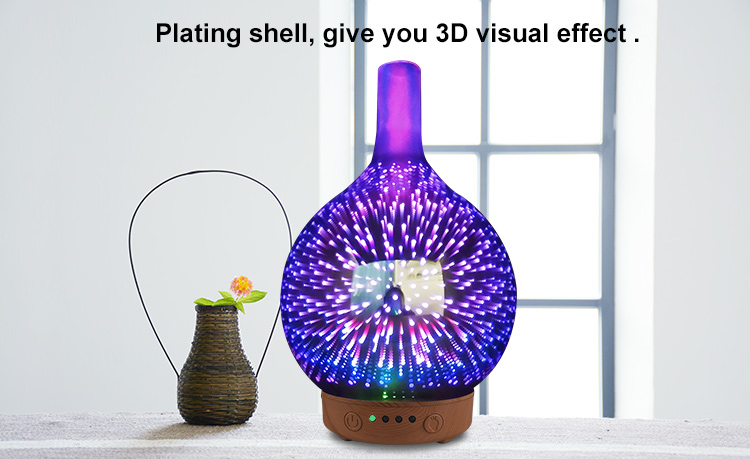Factory supply humidifier wood grain aroma diffuser electric aromatherapy 3D glass essential oil diffuser