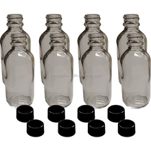 2 oz Boston Empty Vintage Crystal Antiques Glass Lot - Decorative Refillable Bottle Round Shoulder Design with Black Cap Top