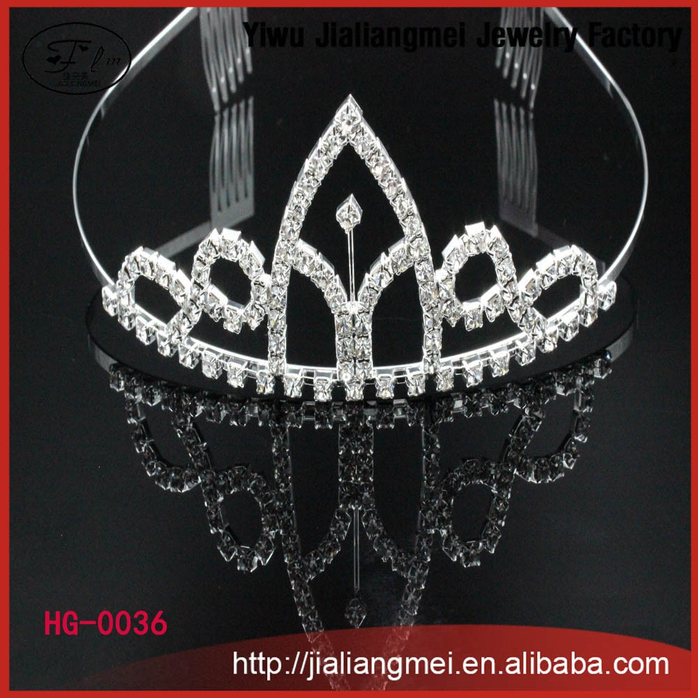 New arrived fashion rhinestone crystal silver plated princess tiara & crown wholesale