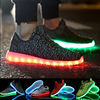 Colorful LED Light Lace Up Luminous Mesh Shoes Yeezy Sportswear Sneaker (USB rechargeable) Adult And Kids SIze 25-46