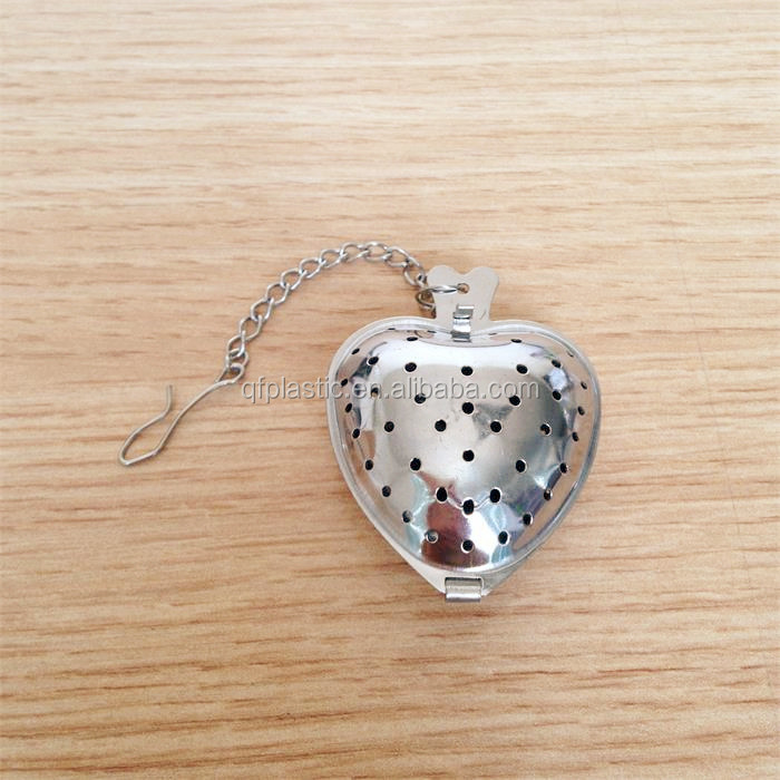 Hot sale Heart shaped stainless steel tea infuser with chain, tea ball infusers wholesale tea leaves strainer