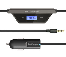 USB Charger In Car LCD Display 3.5mm Audio FM Transmitter