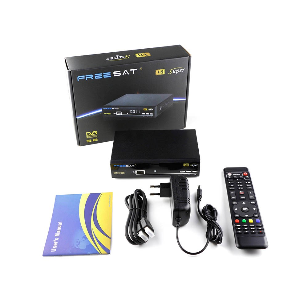 Hot selling freesat v8 super dvb-s2 satellite receiver software upgrade support biss key iptv cccam
