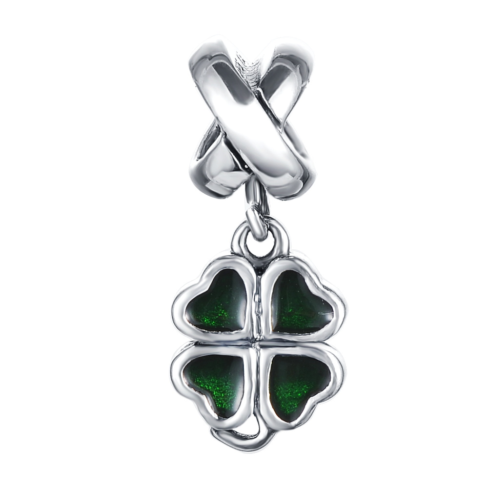 LZESHINE Silver Enamel Green Good Luck Four Leaf Clover Pendant Charm Fit Bracelet Necklace DIY Jewelry Accessories PDMB0317