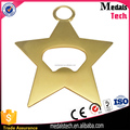 ECO-Friendly gold star tag shape cute metal bottle opener with custom size