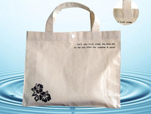 popular 100% nature cotton shopping tote bag with white color button