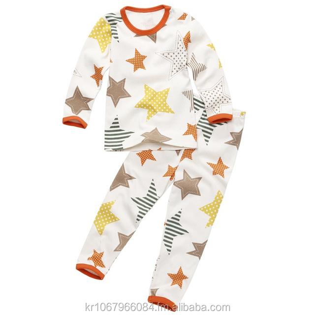 European style cotton 100% boy slim sleepwear pajamas star & tom kids underwear