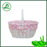 White Spot Linen Wicker Basket