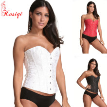 Wholesale Lace up Busiter Shapewear Outfit Women's Embroidered Bustier Corset Sexy Satin Overbust Corset