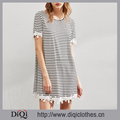 New arrivals Summer high fashion ladies Black and White Floral Lace Trim Striped Tee Dresses