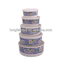5pcs Air-tight food plastic container with decal