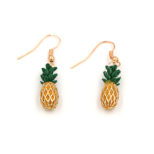 Yiwu 18K Gold Plated 3D Basket Hollow Pineapple Charm Drop Earrings