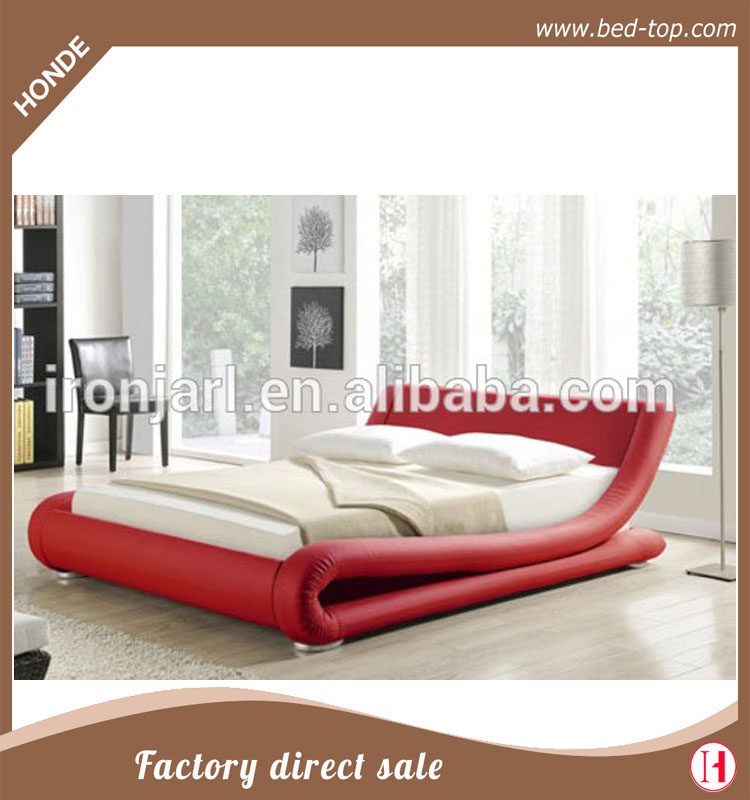 Modern furniture bed italian leather sleigh platform bed designs